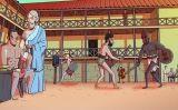 Gladiadors s'entrenen al pati de l'escola
