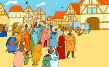 Grup de músics en un mercat medieval