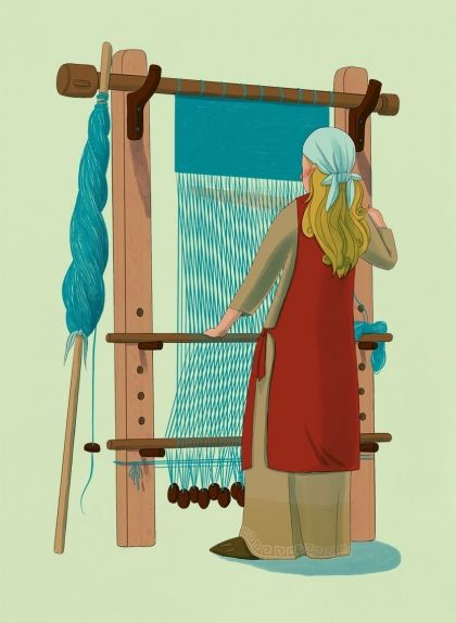 Dona vikinga treballa al teler