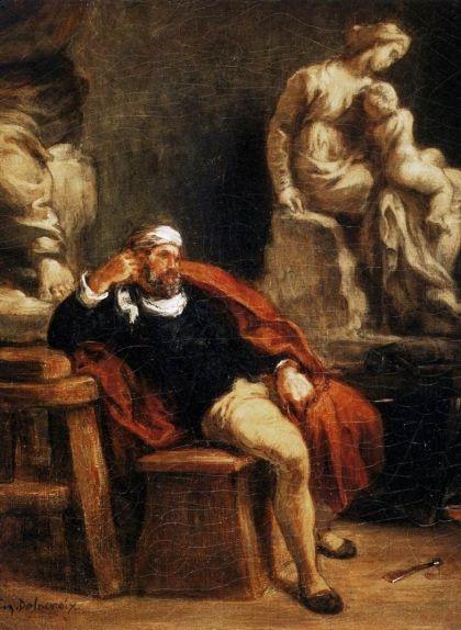 El pintor francès Delacroix va fer aquest quadre que representava Miquel Àngel al seu estudi